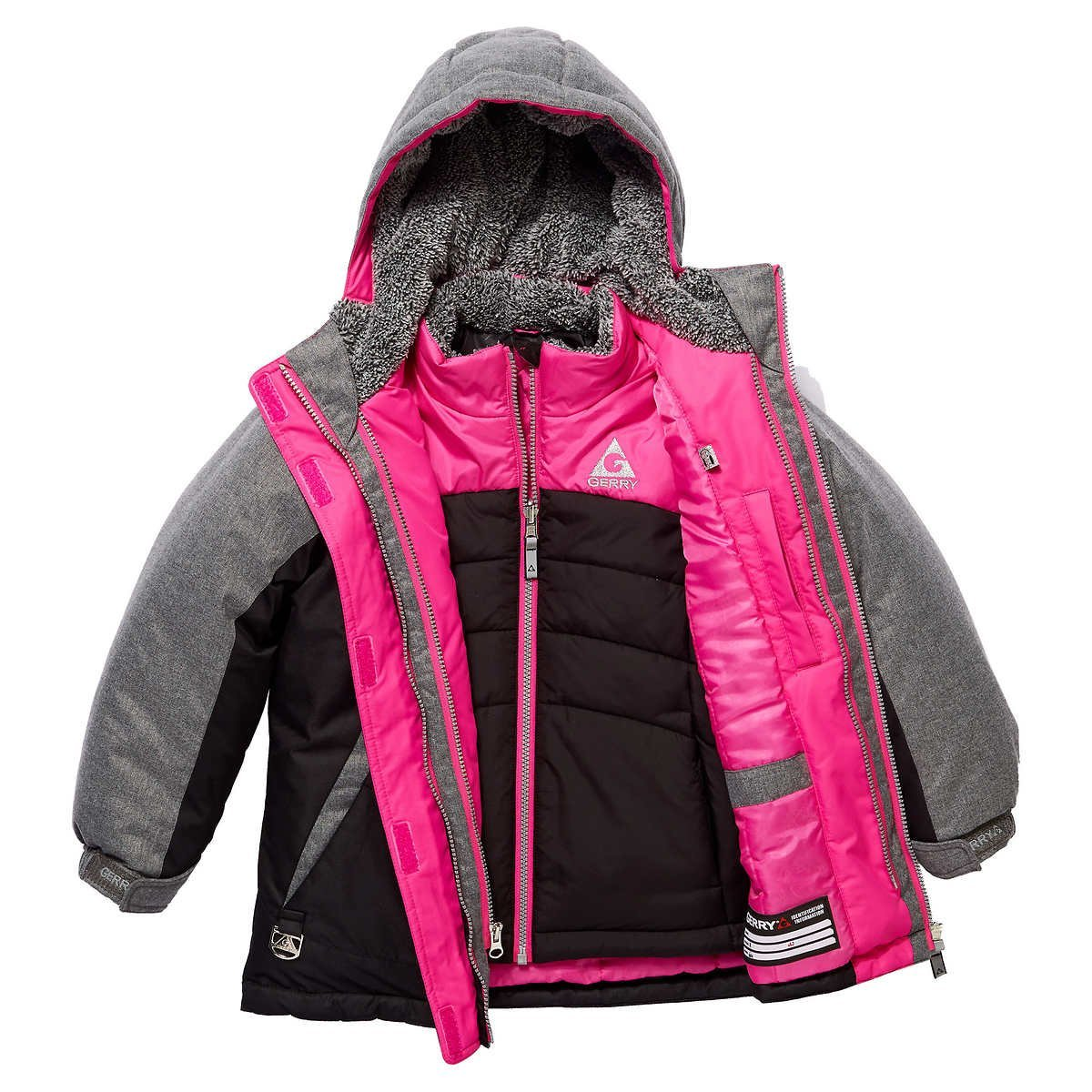 Gerry Girl's 3 in 1 System Winter Jacket Hooded Coat with Beanie Black Medium (10-12)