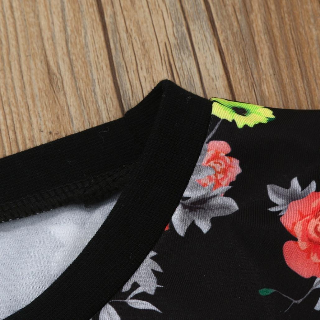 FORESTIME 2PC Kids Infant Girls Floral Long Sleves T-Shirt+Tulle Gauffer Skirt Set