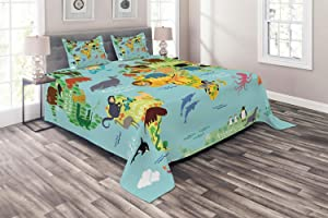 Ambesonne Wanderlust Coverlet, Animal Map of The World for Cartoon Mountains Forests, 3 Piece Decorative Quilted Bedspread Set with 2 Pillow Shams, Queen Size, Pale Blue Green