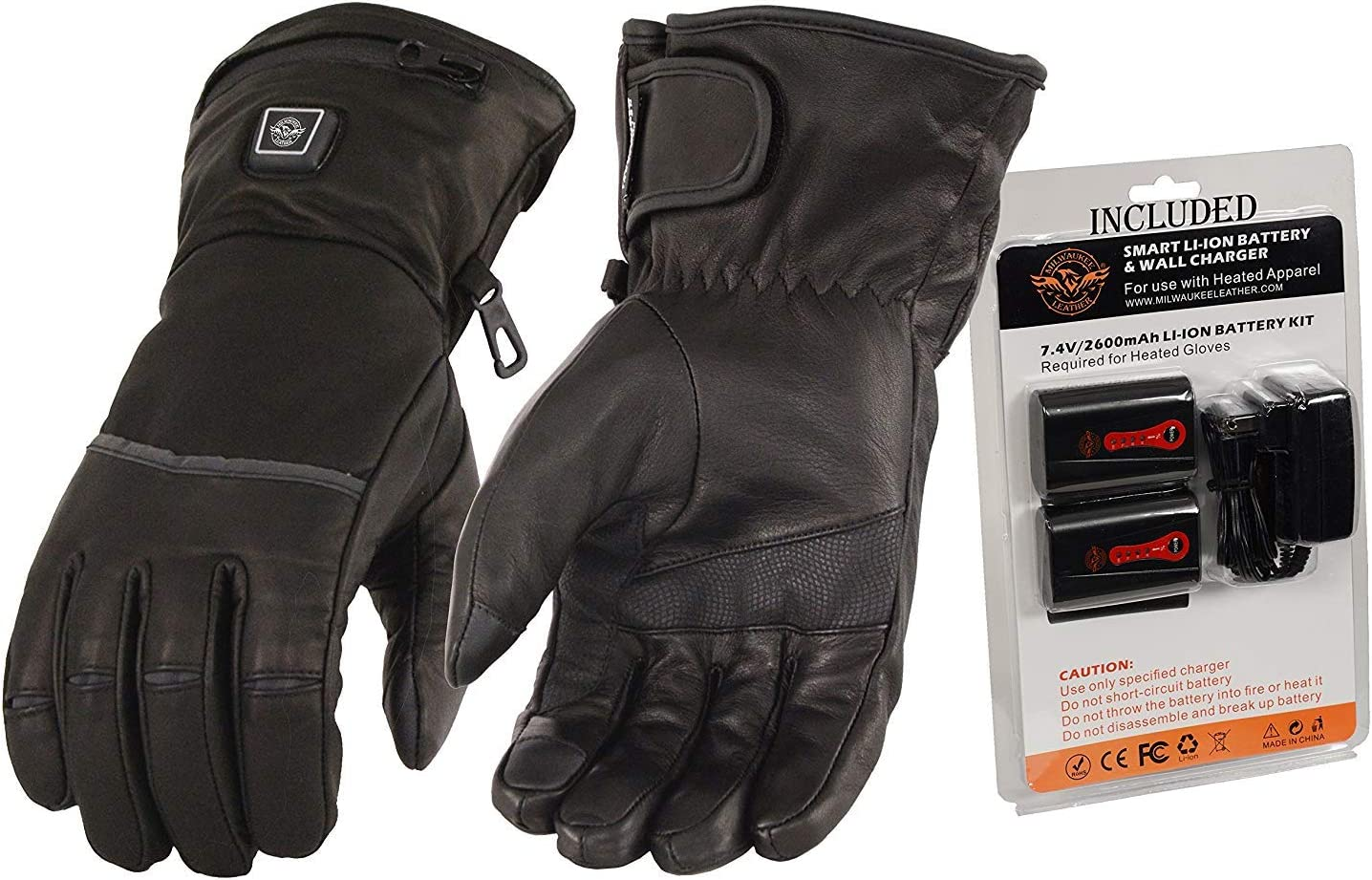 Milwaukee Leather MG7513SET Men's Waterproof Heated Gantlet Gloves with i-Touch (Battery Pack Included) - Large
