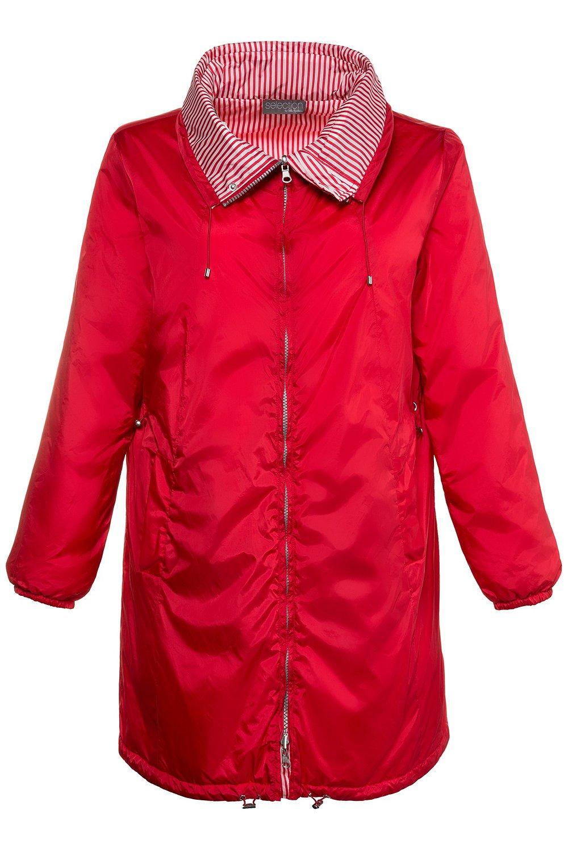 Ulla Popken Women's Plus Size Reversible Stripe Waterproof Jacket Red 12/14 714533 51 by Ulla Popken (Image #3)