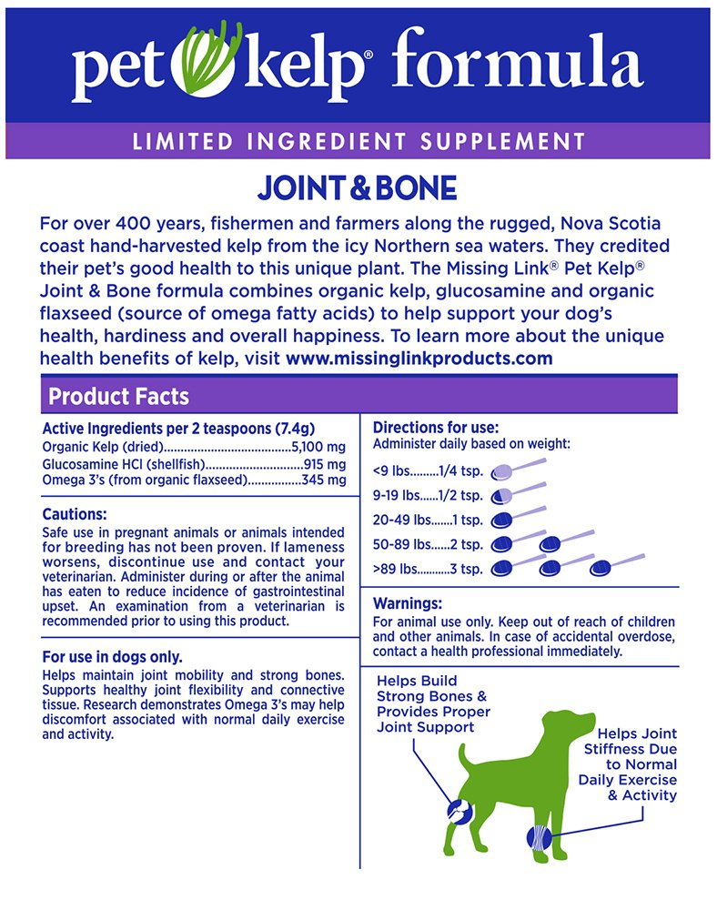 The Missing Link Non-GMO Pet Kelp, Joint & Bone Formula — Limited ingredient Superfood Supplement for Dogs rich in Omegas and with Glucosamine to support healthy nutrition and mobility — 8 oz. by The Missing Link (Image #3)