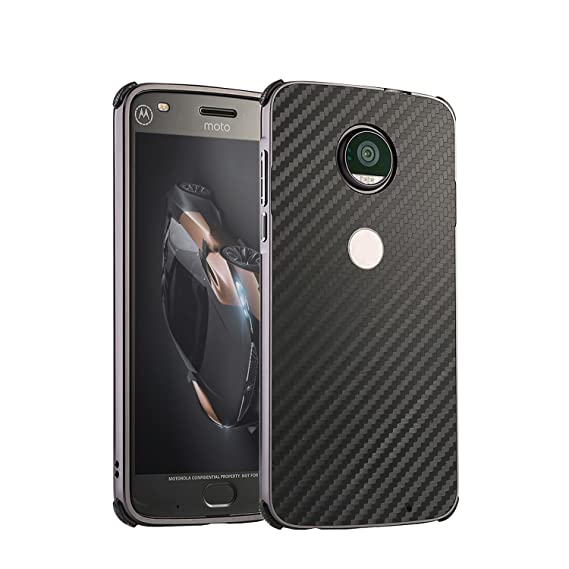 Moto E4 Plus Case with Tempered Glass Screen Protector, ZLDECO Aluminum Metal Frame+ Carbon Fiber Pattern Plastic Back Cover Protective for Motorola ...