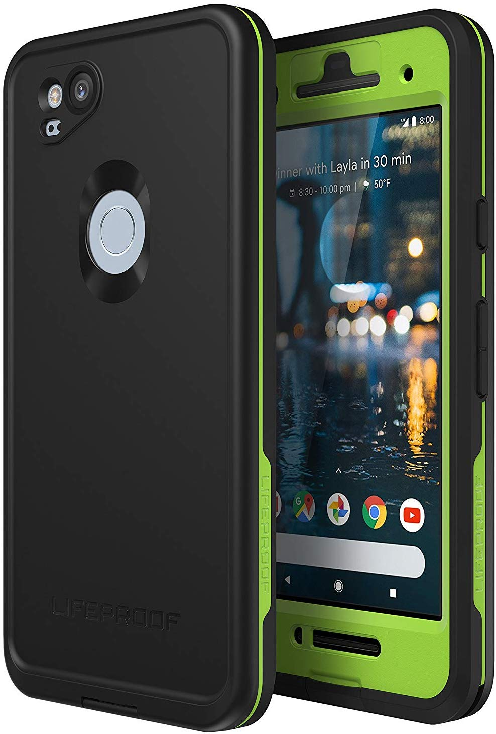 sports shoes f9b2d 091aa Lifeproof FRE Series Waterproof Case for Google Pixel 2 - Non-Retail  Packaging - Night Lite (Black/Lime)