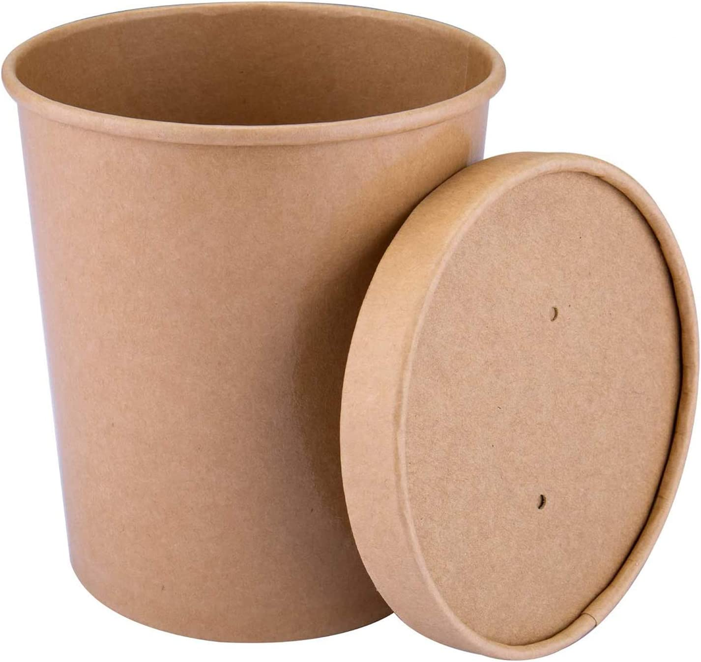 TKOOFN Disposable Kraft Paper Food Containers with Vented Lids Perfect for Ice Cream, Soup, Take Out, 32 Ounce, 25 Pack