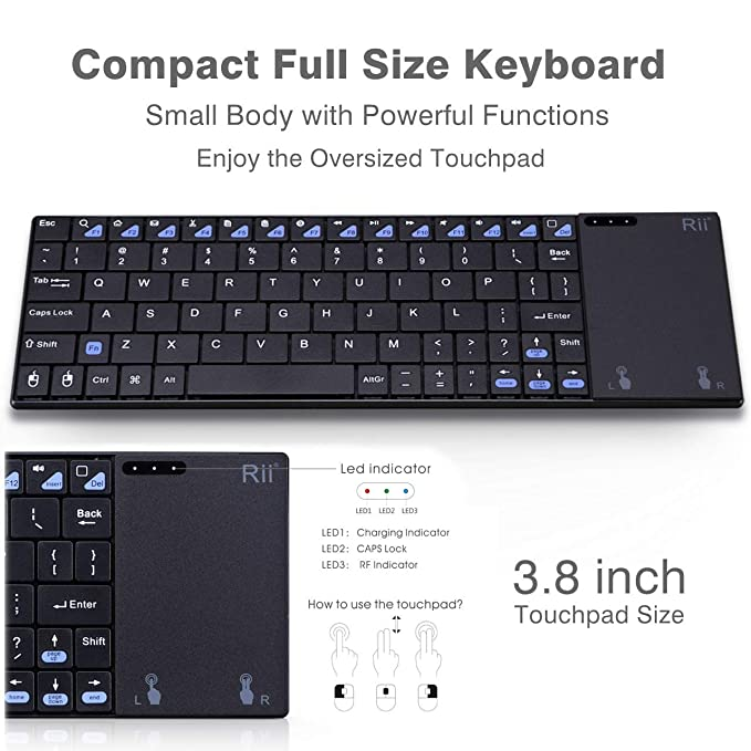 (Newest Version) Rii K12+ Mini Wireless Keyboard with Touchpad Mouse,  Stainless Steel Portable Wireless Keyboard with USB Receiver for