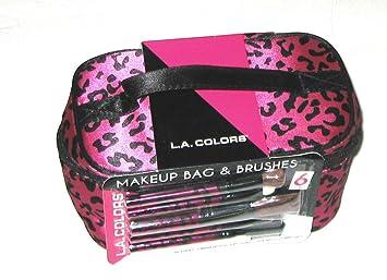 382cc00bd64826 Amazon.com: L.A. Colors Makeup Bag and Brush Set Hot Pink Leopard ...