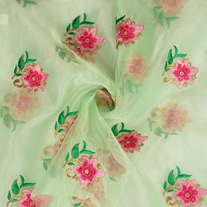 ff4ce1118 Amazon.com: Shopolics Green Organza Fabric with Pink and Golden ...