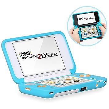 HEYSTOP Funda Protectora para Nintendo New 2DS XL, Funda Antideslizante de Silicona para Consolas New 2DSXL con Comodida al agarrar la Consola-Azul