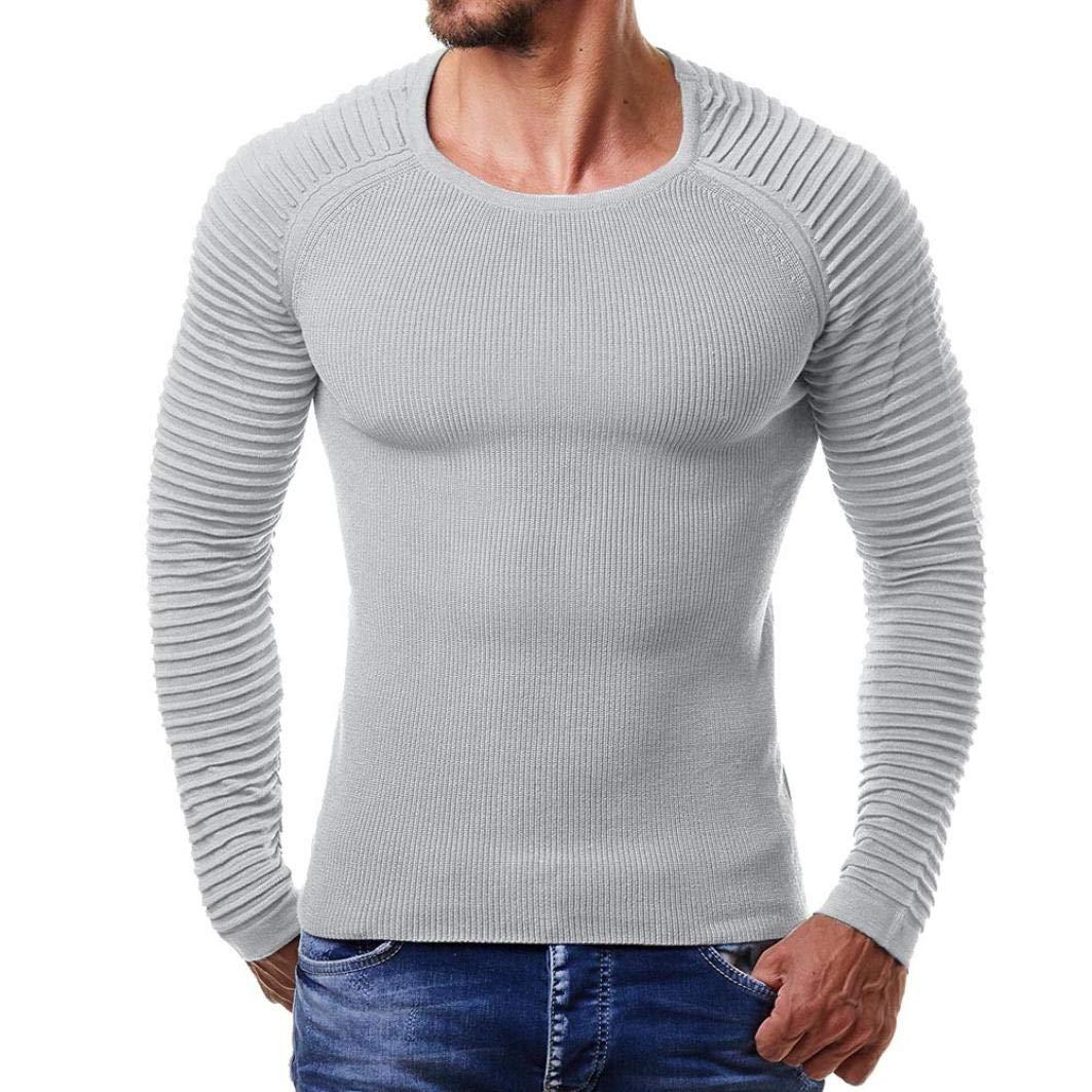 CLOOM Maglietta Uomo Elegante, Manica Lunga Girocollo T Shirt Muscolo Stampa Camicetta Slim Fit Maglietta da Uomo Camicie da Uomini Tees Tops Piega Barra Verticale Polo Fashion