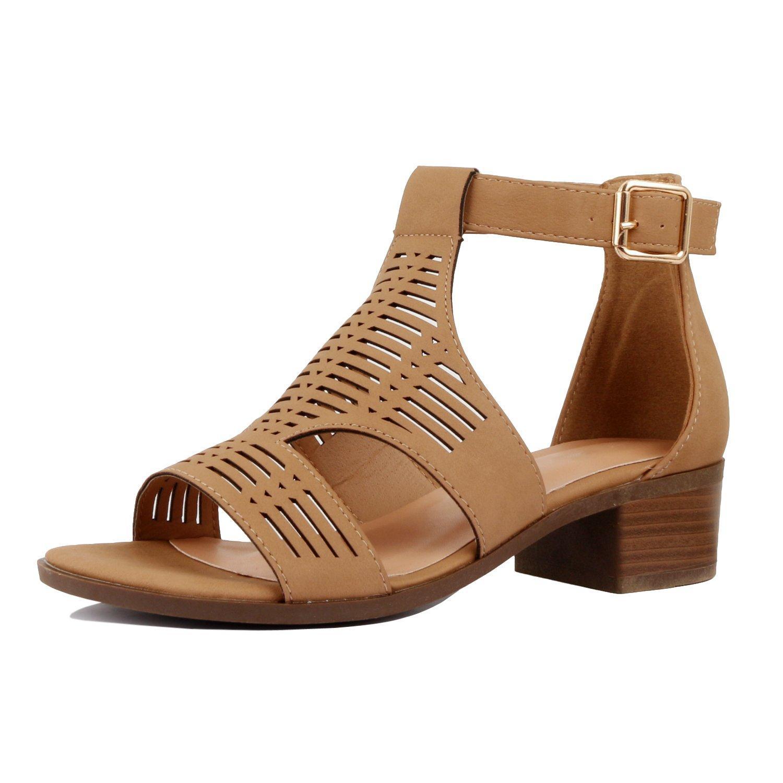 Guilty Heart - Women Comfortable Cut Out Low Block Heel Summer Sandal (10 B(M) US, Tanv1 Pu)