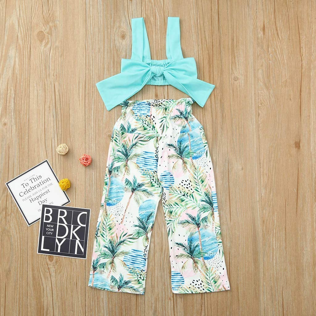 NIHAI 2PCS Fashion Girls Baby Kids Sling Solid Color Top Bow Floral Trousers Outfits Set