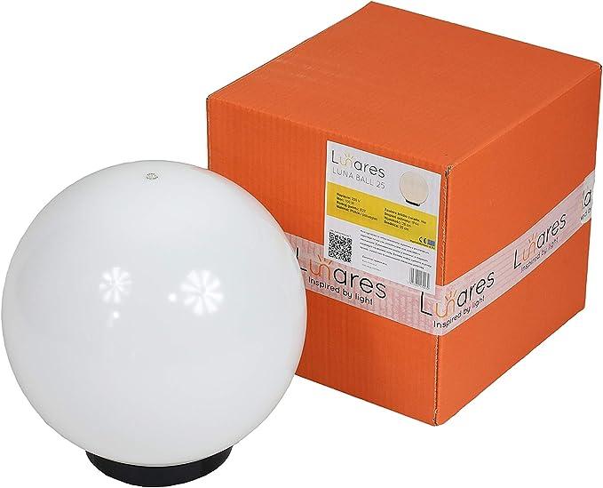 SCHNEEWEIß - Lámpara esférica para jardín (25 cm de diámetro, resistente a la intemperie, fácil de limpiar, compatible con bombillas LED, diseño moderno, terraza): Amazon.es: Iluminación