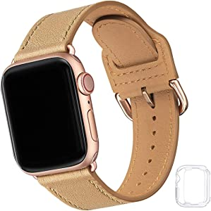 Compatible with Apple Watch Band 38mm 40mm 42mm 44mm, Soft Leather Watch Band Replacement Strap for iWatch SE Series 6 5 4 3 2 1 (Light tan with Rose Gold, 38MM/40MM)