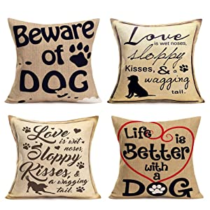 """Hopyeer 4Pcs Cute Animals Decor Throw Pillow Cases Love Dog Theme Cotton Linen Warm Quote Words with Heart Printed Pillow Covers Decorative Home Sofa Pet House Pillowcase 18""""x18"""" (Love Dog)"""