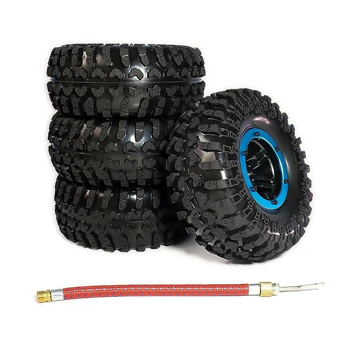 rcawd hinchable 2.2 pulgadas beadlock Rueda de neumáticos para 1/10 RC Crawler Truck Wraith, SCX10, AX10 4pcs, azul: Amazon.es: Instrumentos musicales