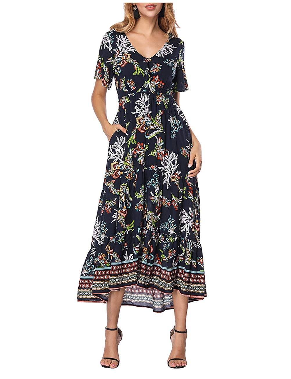 c112b20ceec Women s Dress Floral V Neck Elastic Waist Long Sleeve Boho Midi Party  Dresses