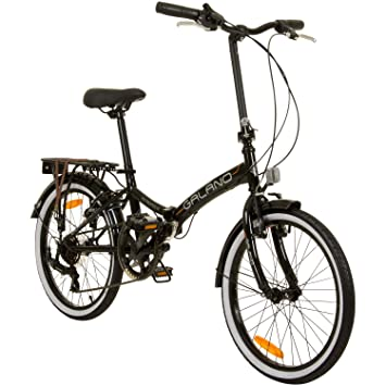 Bicicleta plegable de 51 cm Metropolis de Galano para camping, Negro