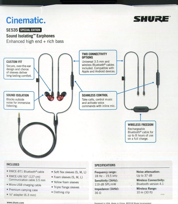 Shure SE535-V+BT1-EFS Sound Isolating Earphones, Bronze
