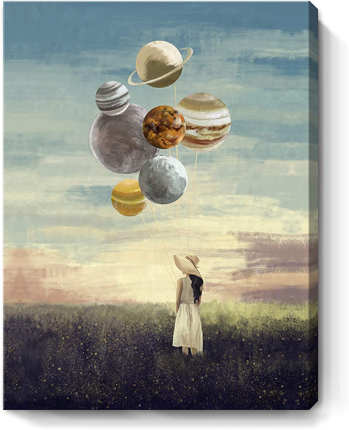 ARTZON Bathroom Decor Wall Art Inspirational Canvas Print Creative Girl Holding Planet Picture Motivational Framed Artwork for Living Bedroom Office Décor