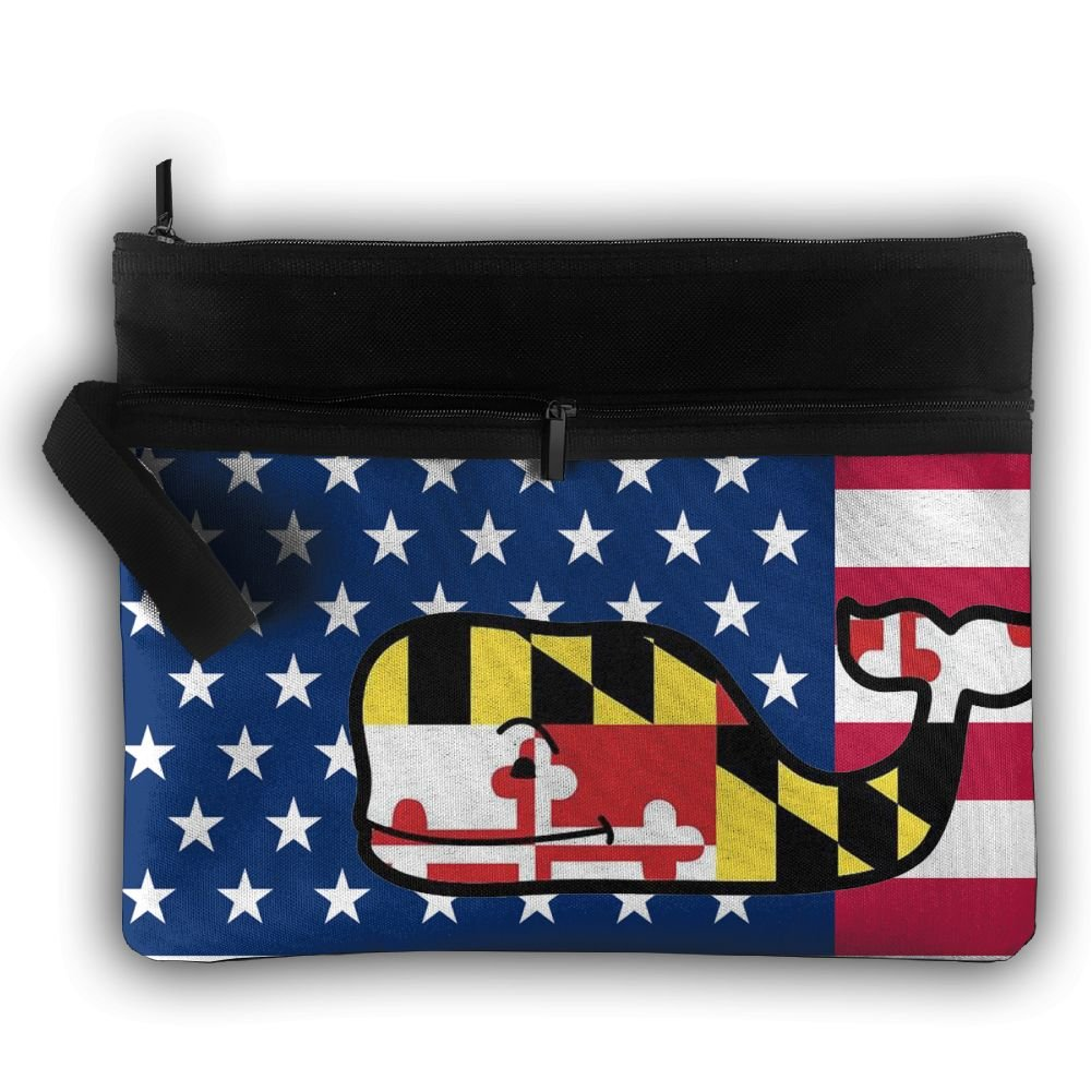 cca1bcc3d293 Usa Maryland Flag Whale Multifunction Storage Bag Buggy Bag Travel Cosmetic  Bags Double Zipper Small Makeup