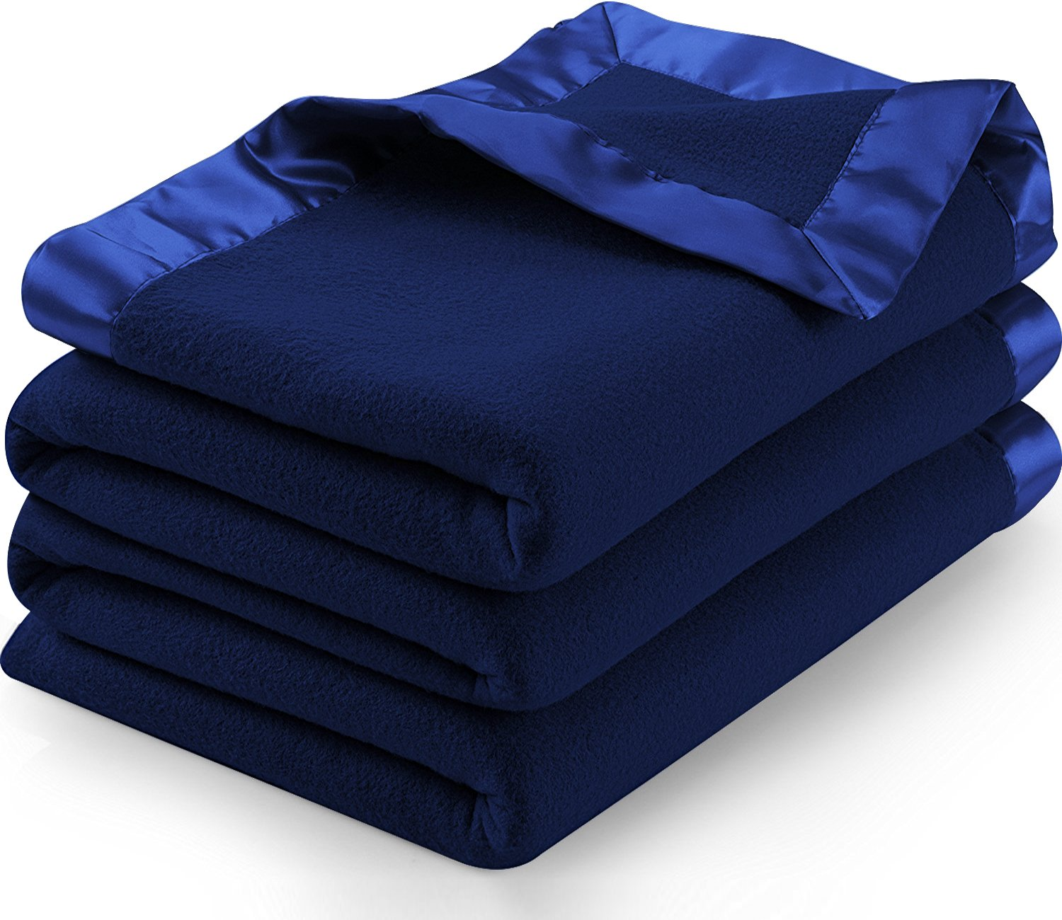 Utopia Bedding Sateen Polar Fleece Blanket with Sateen Ribbon Edges (Navy, Twin) – Extra Soft Brush Fabric – Super Warm, Lightweight Bed/Couch Blanket – Easy Care