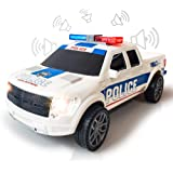 ArtCreativity Police Pickup Truck with LED Headlights and Sirens, Light-Up Push and Go Police Vehicle, Pretend Play Toy for K