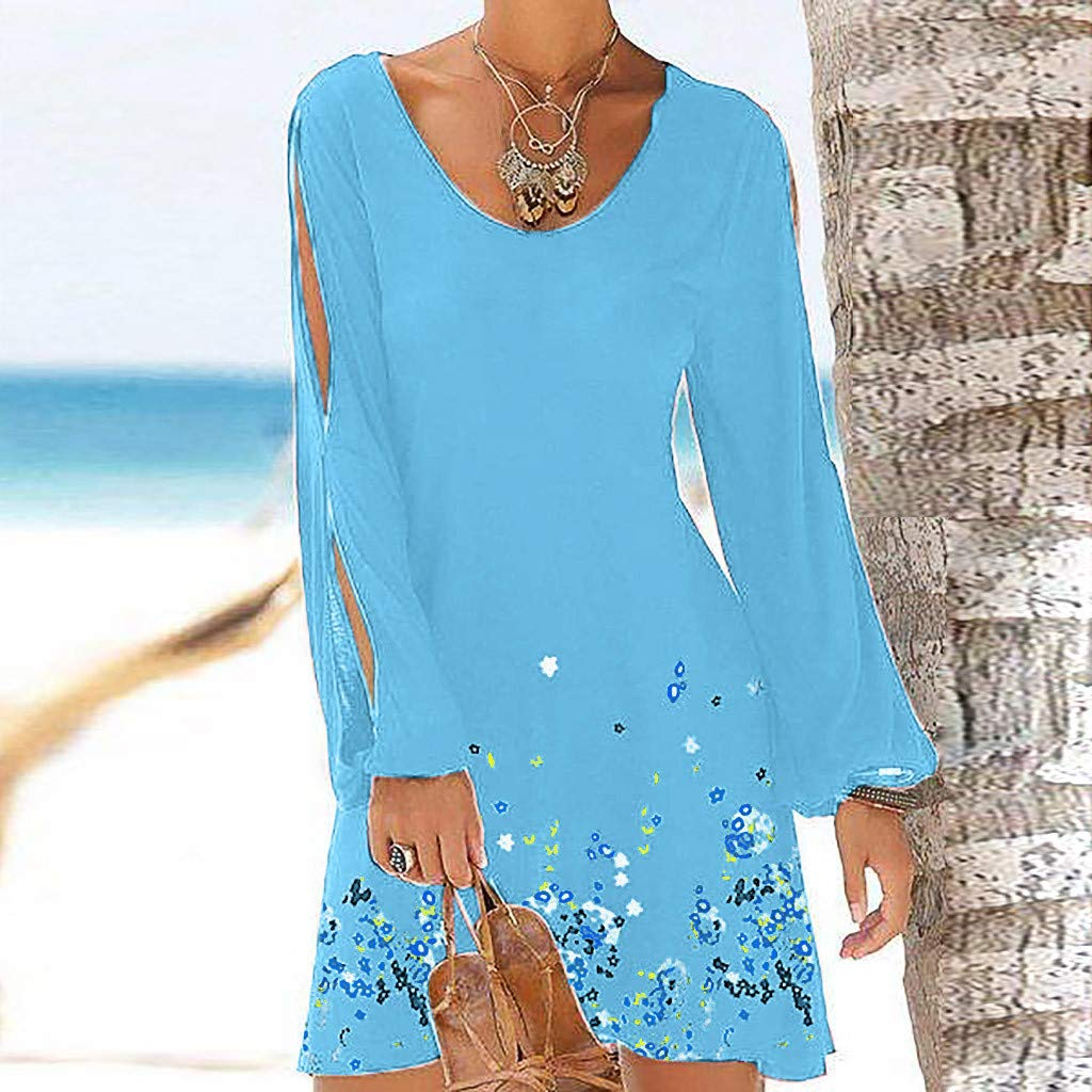 ae90adc23 Women's Cold Shoulder 3/4 Sleeve Tunic Top Swing T-Shirt Dress Ladies  Bohemia Summer Beach Vintage Party Wrap Mini Dress Hollow Out Sleeve Print  Beach Style ...