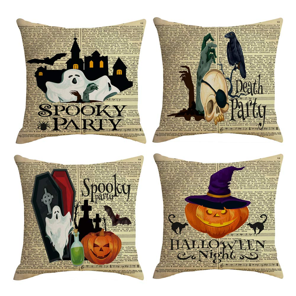 QIQIANY Set of 4 Vintage Halloween Newspaper Background Throw Pillow Covers 18x18 inch Pumpkin Crow Skull Ghost Home Decor Cushion Cover Halloween Throw Pillow Cases for Sofa, Couch, Bed and Car