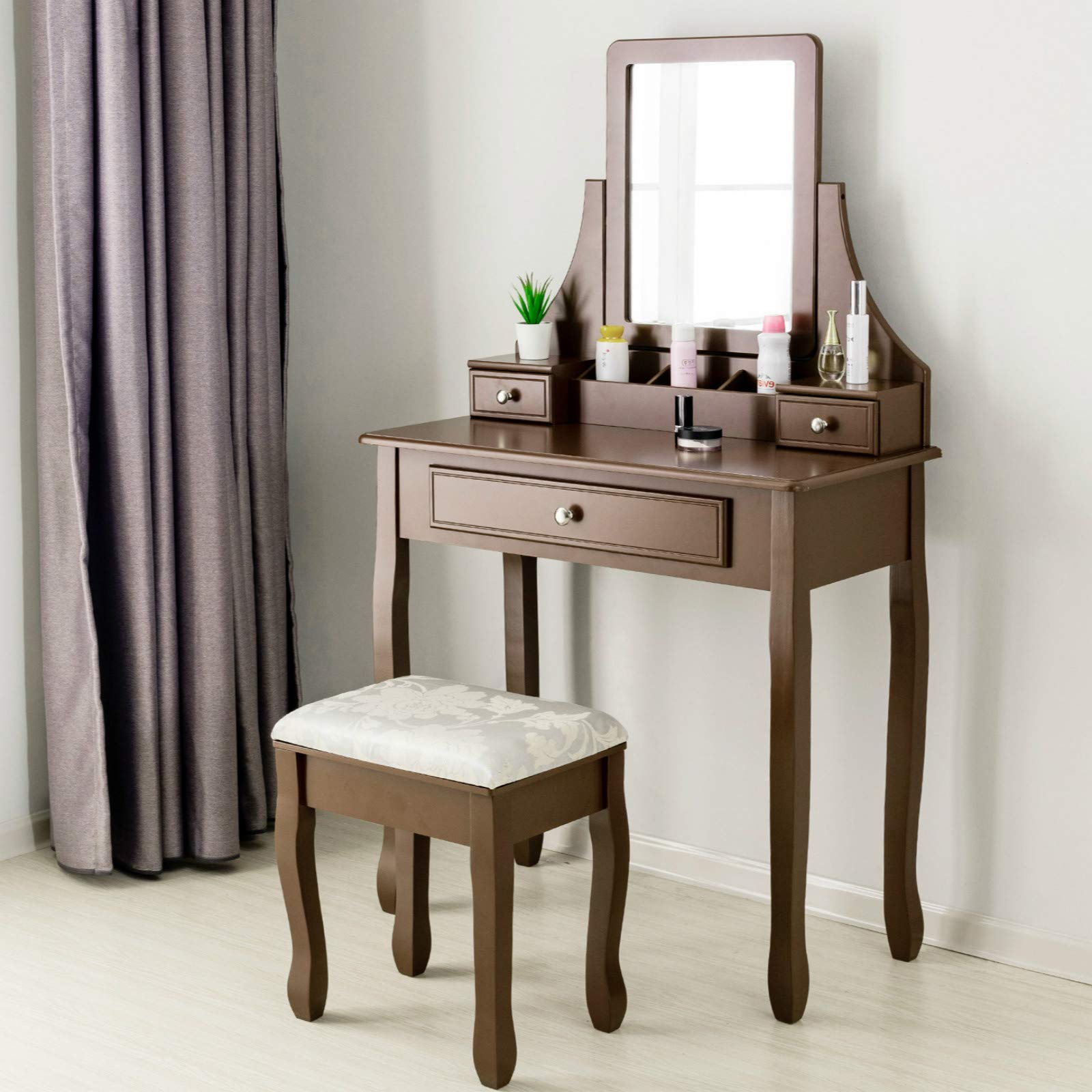 Mecor Vanity Table Set w/Square Mirror,Dressing Table Cushioned Stool&3 Drawers,3 Removable Dividers Bedroom Makeup Table Brown
