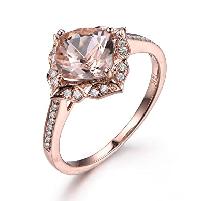 65mm Cushion Morganite Engagement Ring 14K Rose Gold Vintage