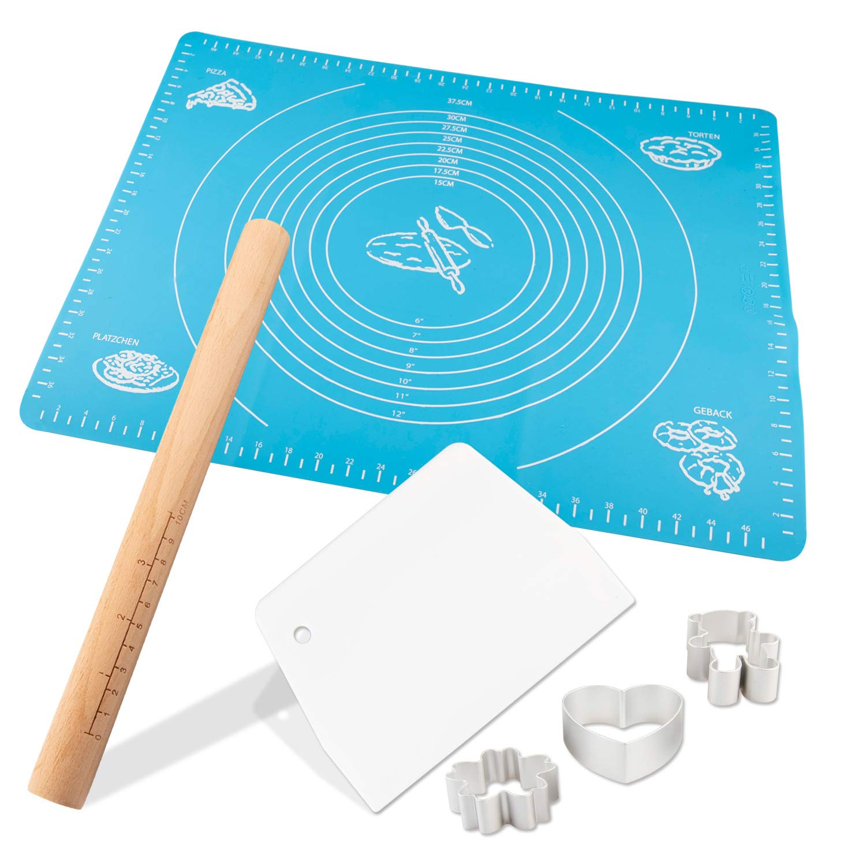 GALYGG Rolling Pin Silicone Mat Set-Measurements Dough Board,Reusable Non-Stick and Easy to Clean,Measurements Dough Mat,Cookie Cutters,Rolling Pin,Dough Scraper,Silicone of Highest Grade FDA,6 Pcs
