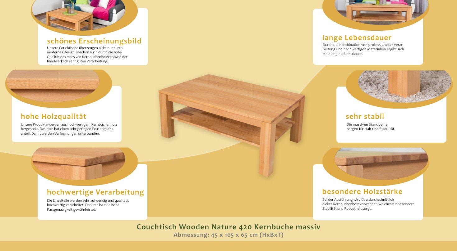 H x B x T 45 x 105 x 65 cm Couchtisch Wooden Nature 420 Kernbuche massiv