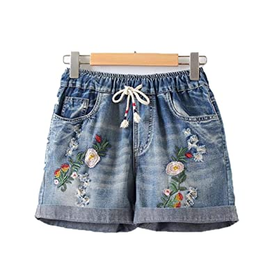 A-sringzone Flower High Waisted Beach Casual Flower Denim Casual Solid Short