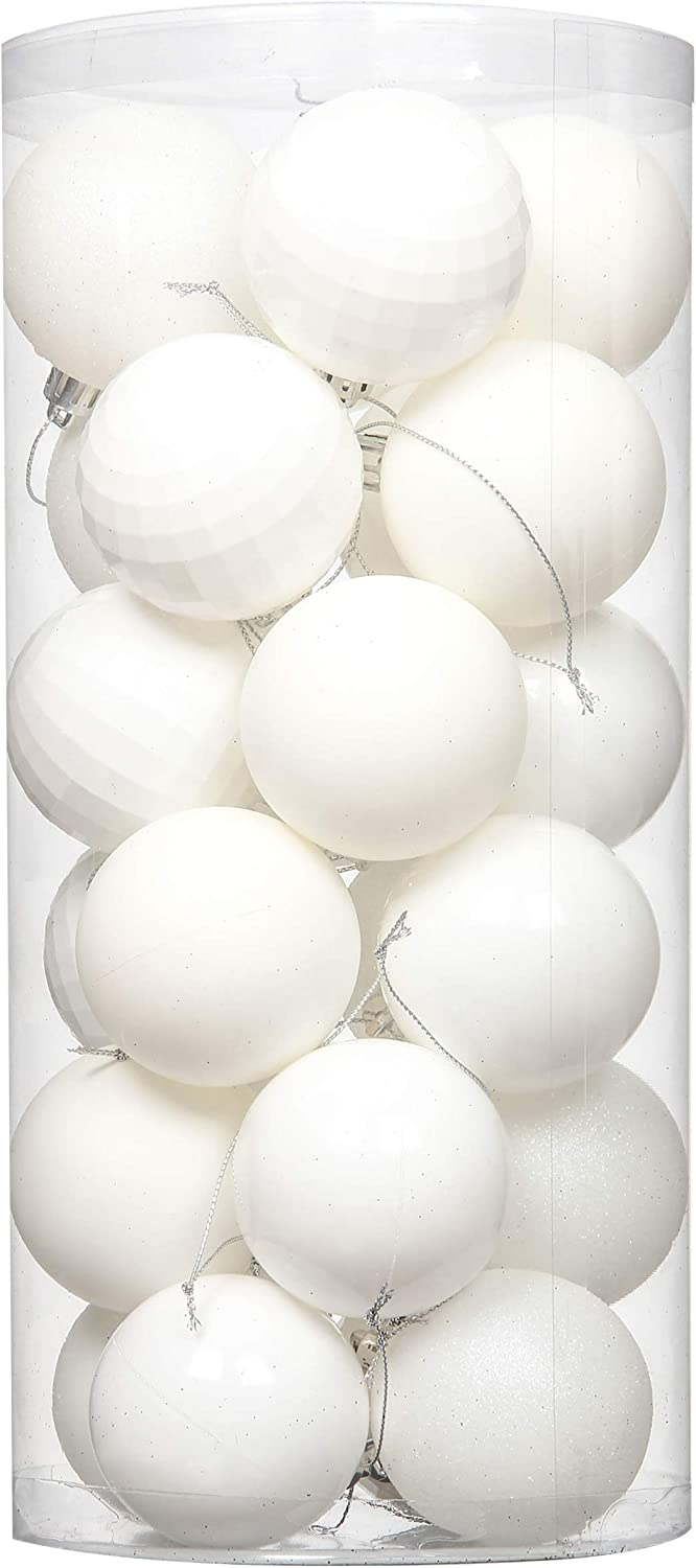 "Jusdreen 24pcs Christmas Balls Ornaments for Xmas Tree Shatterproof Christmas Tree Hanging Balls Decoration for Holiday Party Baubles Set with Hang Rope 2.36""(White 60mm)"
