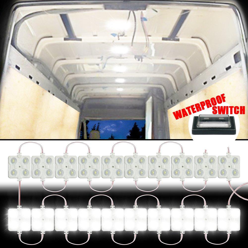 Kit luce interna GAMPRO 12V 80-LED per interni, kit luce bianca per soffitti a LED per furgone, minivan, rimorchio, camion, camper, roulotte, pickup, ducato, barca, velocista e qualsiasi veicolo 12V (12w 80-LED)