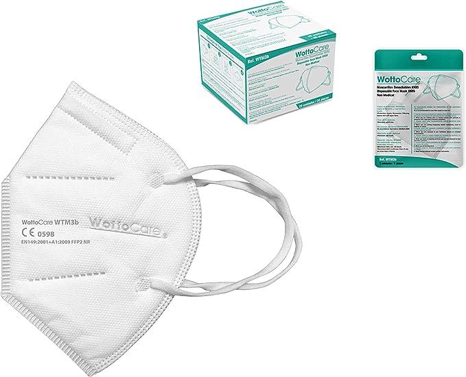 Mascherine ffp2 alta filtrazione kn95 wottocare, box 20 unità WTM3b