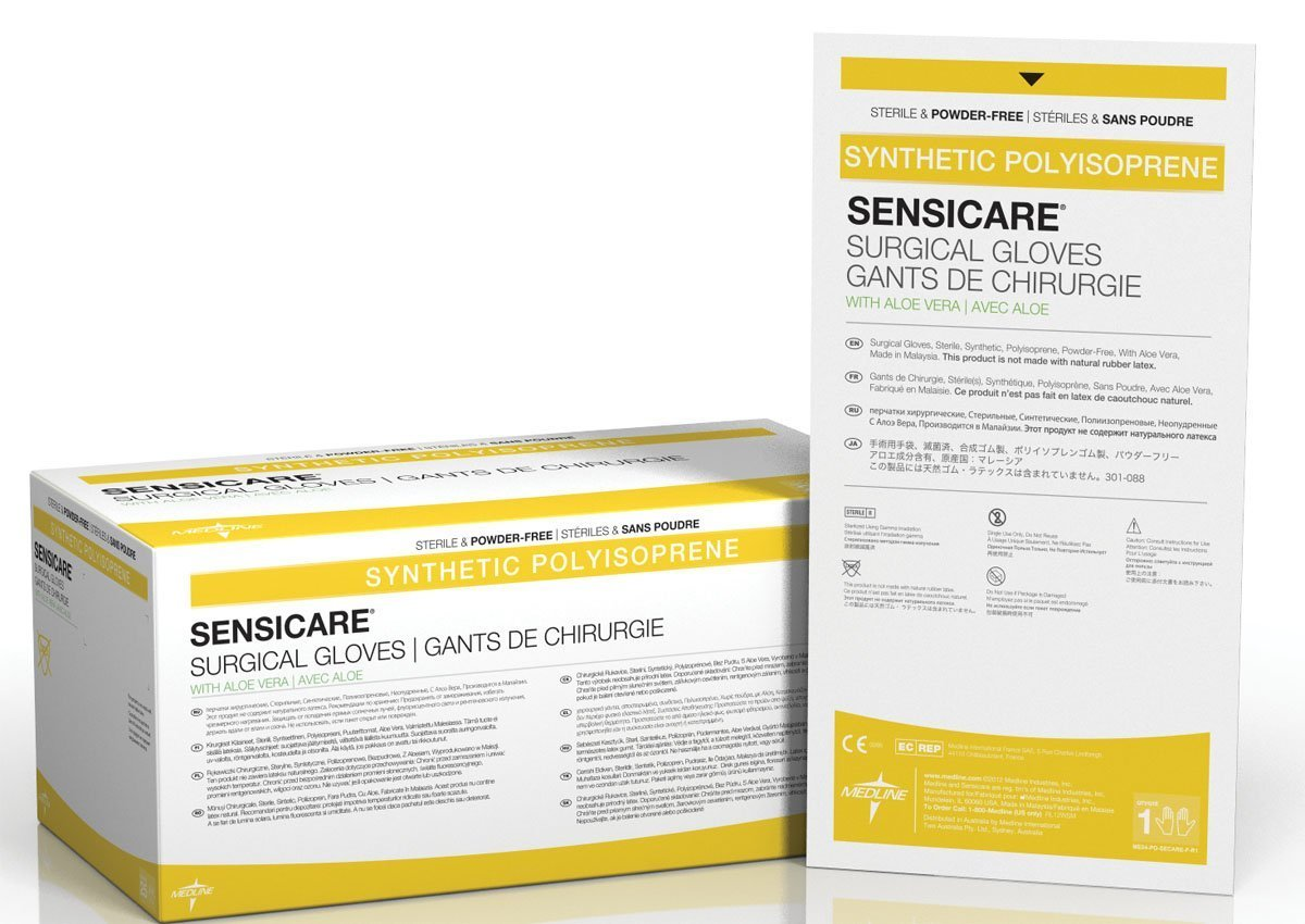 Medline Sensicare Aloe, Nonlatex PF, Sterile, 7.0, 25prs/bx