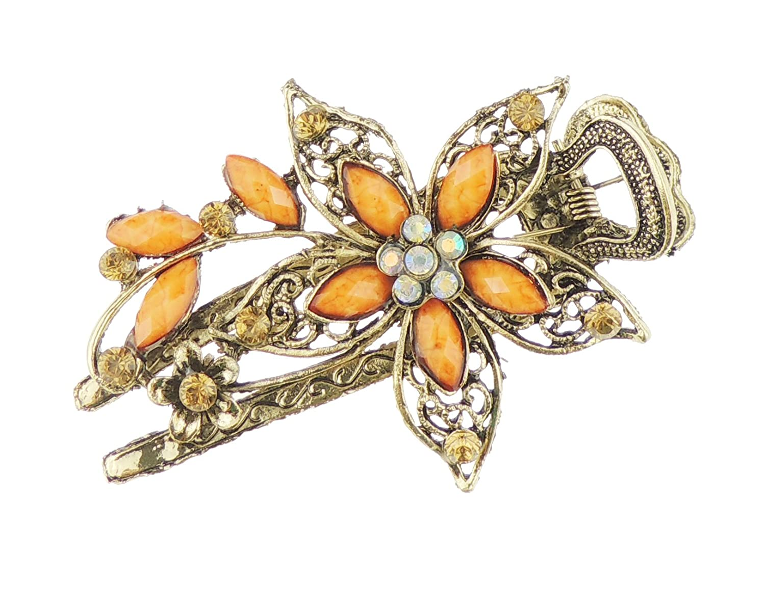 Ladies Bronzed Gold Tone Metal Diamante Crystal Concord Beak Hair Clip Pointy Daisy Flower (Multi) Glamour Girlz