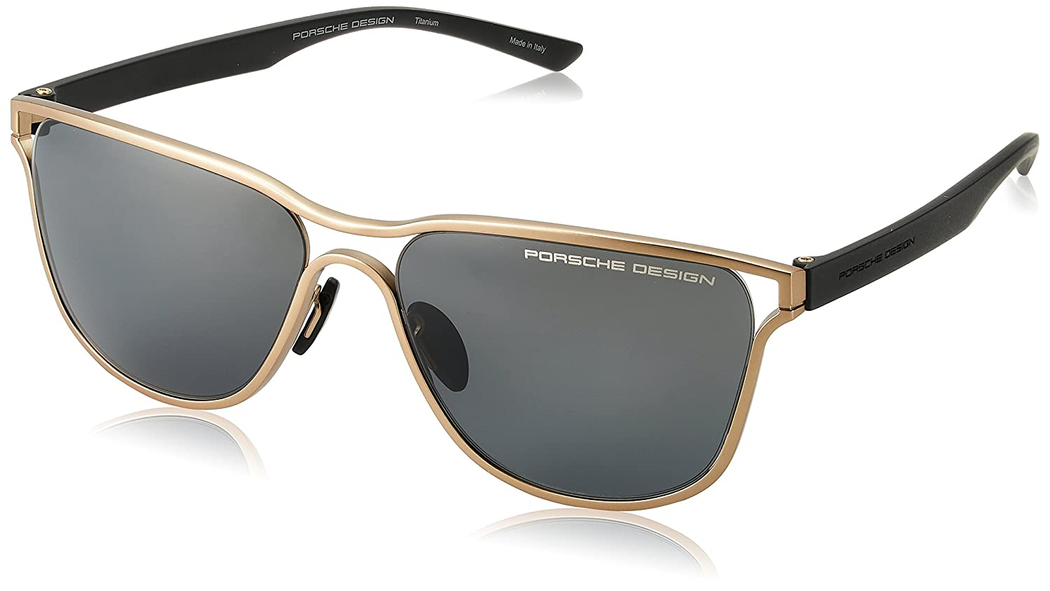 1ee5e7e7b0 Amazon.com  Porsche Design Men s P8647 P 8647 D Gold Square Sunglasses  58mm  Clothing