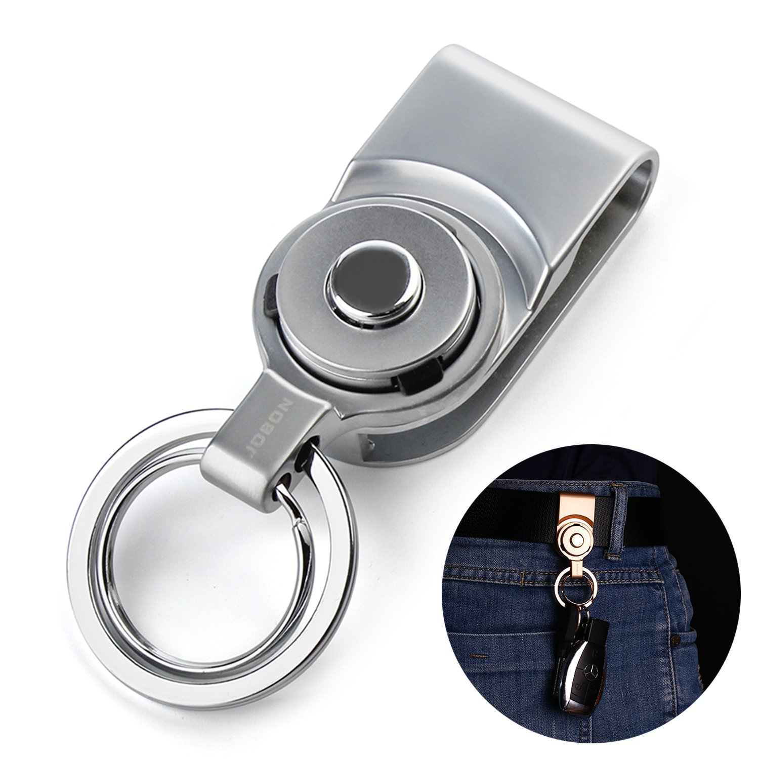 Bidear Belt Clips Keychains with Unique Press Button Metal Key Chain Rings for Cars(Silver)