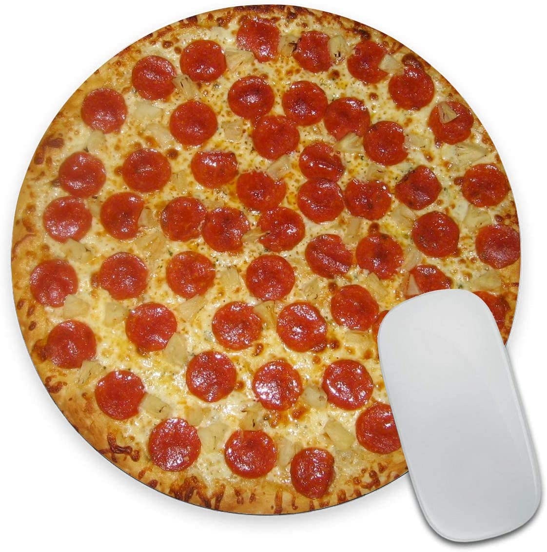 Round Mouse Pad, Pizza Mouse Pad, Cool Mouse pad, Novelty Food Mouse Mat, Non-Slip Rubber Base Portable Mousepad, Circular Waterproof Mouse Pad, Small Size for Office Home Travel 7.9 x 0.12 Inch
