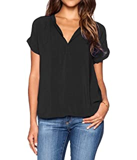 63759b22b7faca roswear Women's Casual V Neck Cuffed Sleeves Solid Chiffon Blouse ...