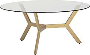 """Studio Designs Home Archtech Modern 38"""" Round Coffee Table in Gold/Clear Glass"""