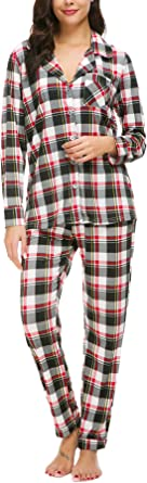 Womens Boyfriend Nightshirt Ladies Girls Pyjamas PJs for Women Red Plaid,XS NORA TWIPS Ladies Pyjamas Set