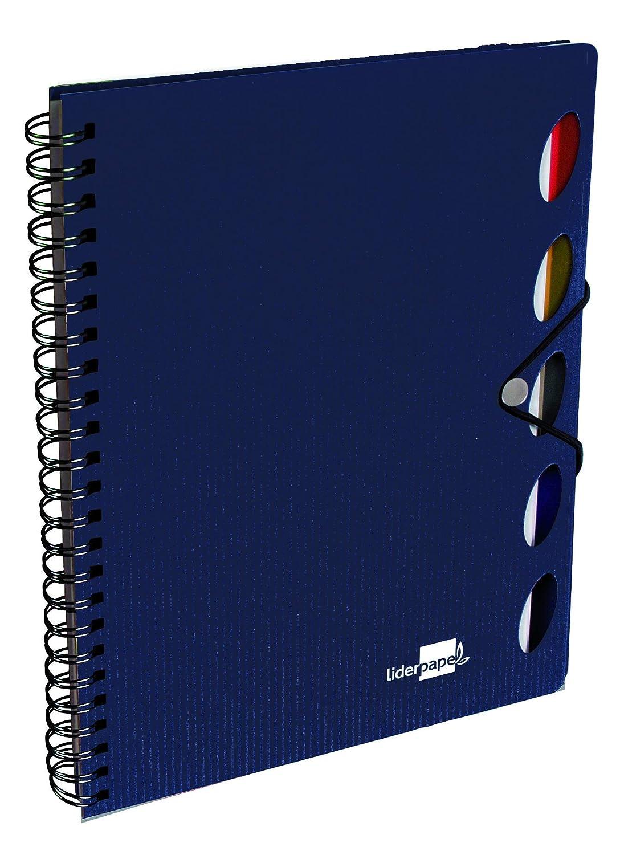 Liderpapel Cuaderno Espiral A4 Micro Executive Tapa Plástico 100H 80 g/m² Cuadro 5Mm 5 Separadores Con Gomilla Azul