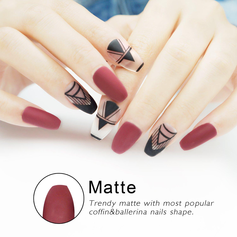 Amazon.com : False Nails Coffin Shape with Designs Matte 24 Pieces ...