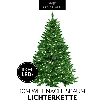 Lichterkette Weihnachtsbaum Außen.Weihnachtsbaum Lichterkette 100 Leds Warm Weiß Für Innen Und Außen 10 Meter Gesamtlänge Kein Lästiges Austauschen Der Batterien Christmas