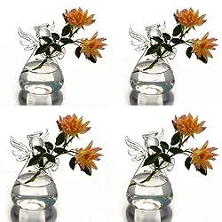 Syaglass Set of 4 Cute Clear Glass Angel Shape Flower Plant Hanging Vase Wedding Decor