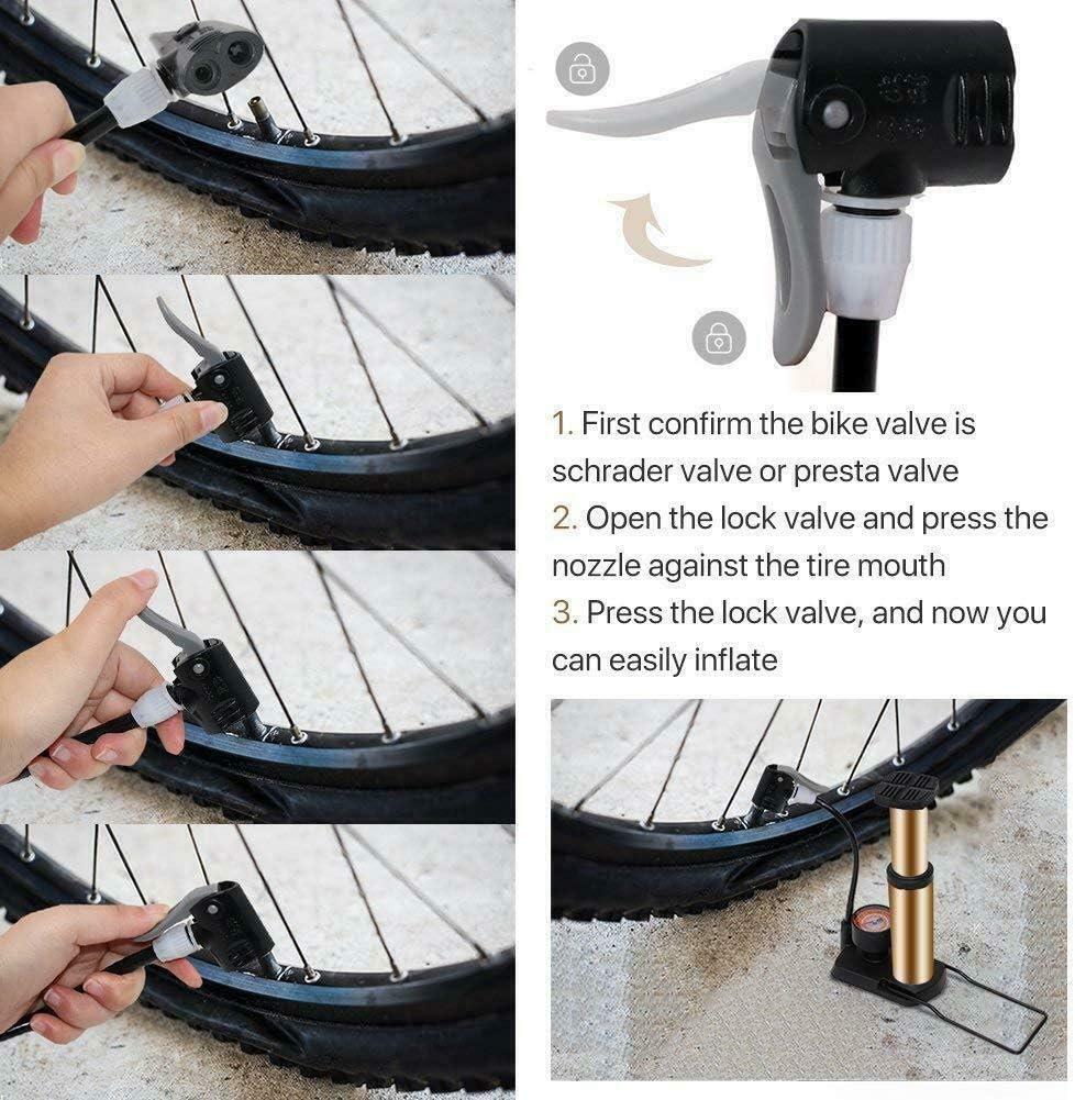pompa da pavimento per bici portatile in lega di alluminio con manometro pompa per pneumatici per bicicletta attivata a piede compatibile con Presta e valvola Schrader 120 PSI Pompa per bici EEEKit